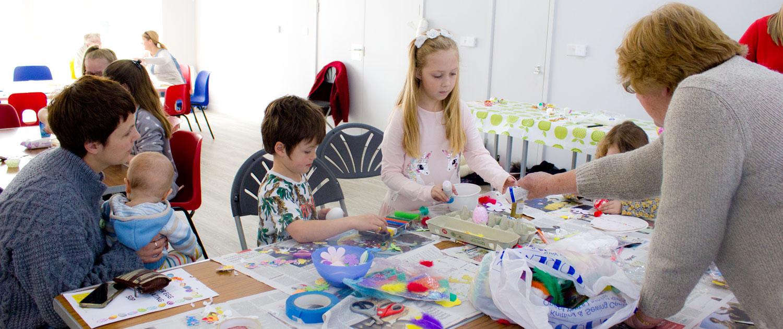 Children crafting at Lympne Village Hall